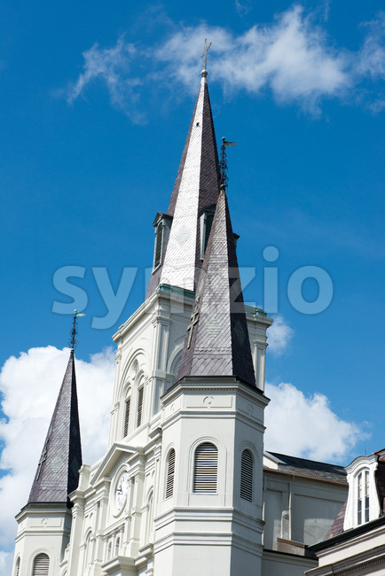 NEW ORLEANS, LA - APRIL 13: Beautiful architecture of Cathedral Basilica of Saint Louis in Jackson Square, New Orleans, LA on April 13, 2014 Stock Photo