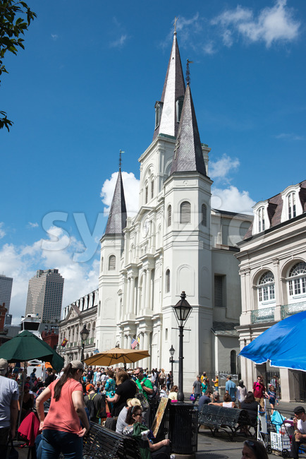 NEW ORLEANS, LA - APRIL 13: View of Beautiful architecture of Cathedral Basilica of Saint Louis in Jackson Square, New ...