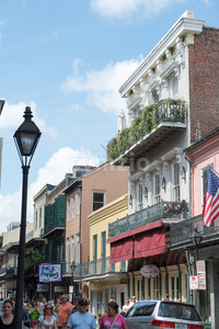NEW ORLEANS, LA - APRIL 13: Street in the French Quarter of New Orleans, Louisiana showing historic buldings with unique architecture on April 13, Stock Photo