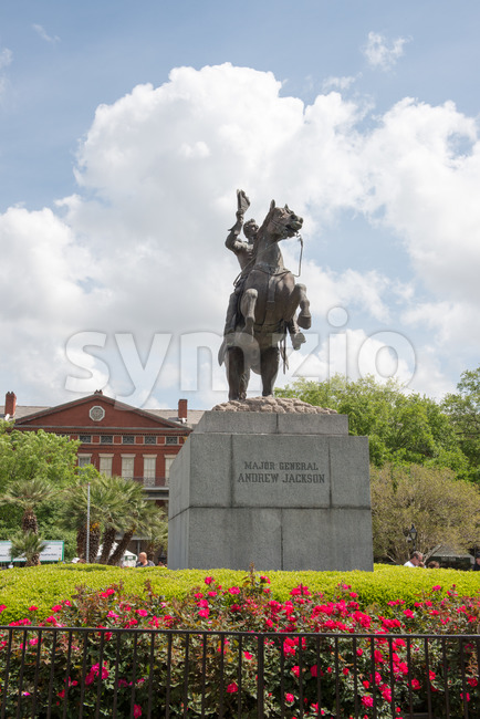 NEW ORLEANS, LA - APRIL 13: Statue of Andrew Jackson at the Jackson Square New Orleans on April 13, 2014 Stock Photo