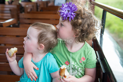 Portrait of young sibling girls riding on train Stock Photo