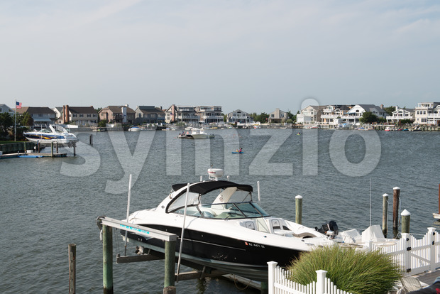 AVALON, NJ - AUGUST 30: View of Avalon Bay, beautiful bay with view of mansions and yachts on August 30, ...
