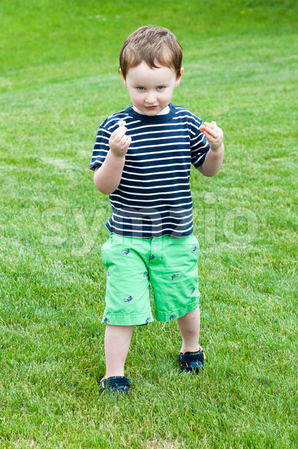 Portrait of a cute adorable little boy child running on grass Stock Photo