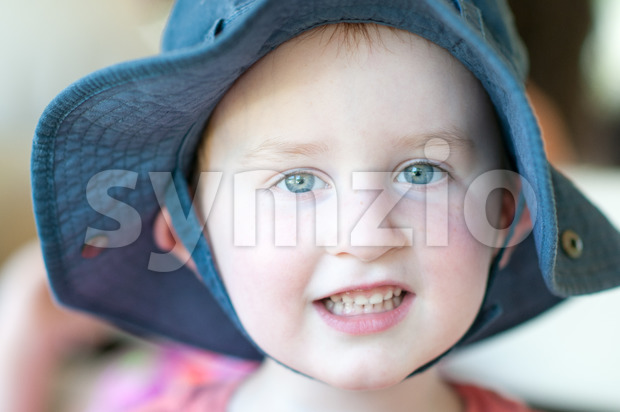Cute boy wearing a hat outside Stock Photo