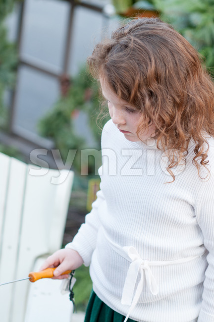 Young little girl is making a s'more made from graham crackers, roasted marshmallows and chocolate. Stock Photo