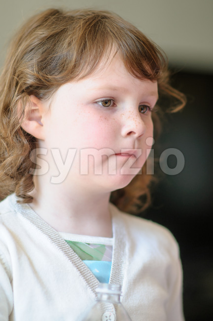 View of Portrait of a cute little girl inside