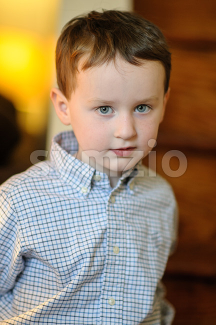 View of Portrait of a cute little boy inside