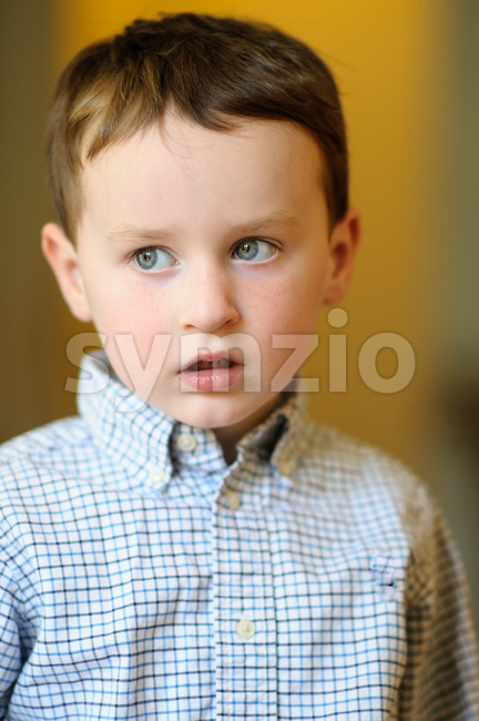 Portrait of a cute little boy inside Stock Photo