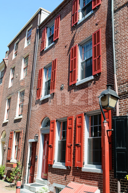 PHILADELPHIA, PA - MAY 14: View of The historic Old City in Philadelphia, Pennsylvania. Elfreth's Alley, referred to as the ...