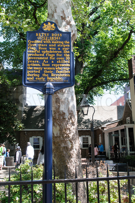 PHILADELPHIA, PA - MAY 14: Historic sign in front of the Betsy Ross House at 239 Arch Street on May 14, 2015 Stock Photo
