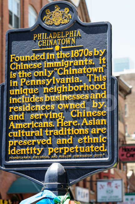 PHILADELPHIA, PA - MAY 14: View of Sign indicating the Chinatown section of downtown Philadelphia on May 14, 2015