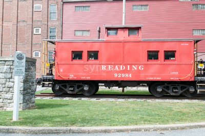 LITITZ, PA - AUGUST 30: Reading Caboose at Old Lititz Railroad Train Station on August 30, 2014 Stock Photo