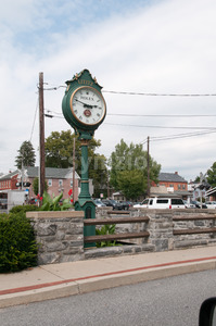 LITITZ, PA - AUGUST 30: Old Lititz Rolex Town Clock on August 30, 2014 Stock Photo