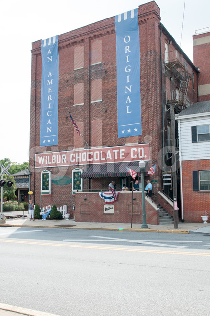 LITITZ, PA - AUGUST 30: The famed Wilbur Chocolate Company headquarters on Route 501 in Lititz on August 30, 2014 Stock Photo