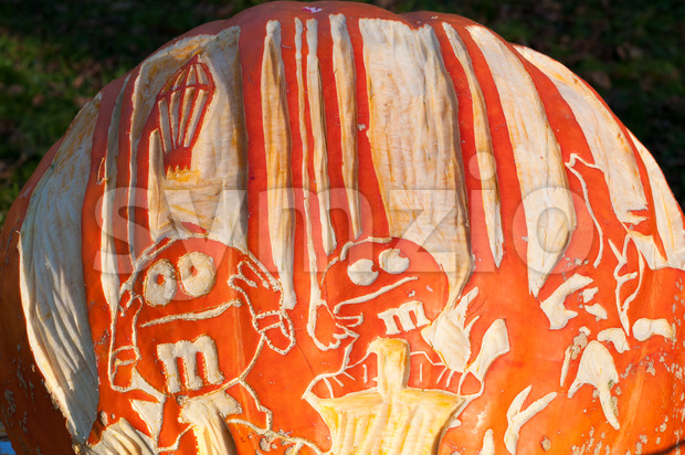 CHADDS FORD, PA - OCTOBER 26: M and M Candy Pumpkin at The Great Pumpkin Carve carving contest on October 26, 2013 Stock Photo