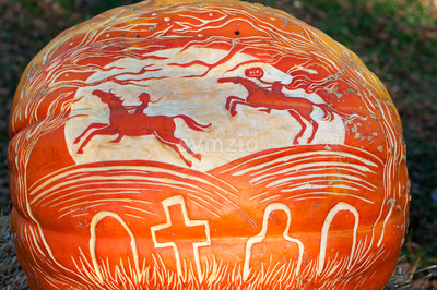 CHADDS FORD, PA - OCTOBER 26: Headless Horseman Pumpkin at The Great Pumpkin Carve carving contest on October 26, 2013 Stock Photo