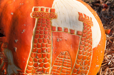 CHADDS FORD, PA - OCTOBER 26: Castle Pumpkin at The Great Pumpkin Carve carving contest on October 26, 2013 Stock Photo