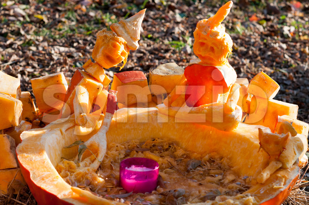 CHADDS FORD, PA - OCTOBER 26: View of Witch Caldron Pumpkin at The Great Pumpkin Carve carving contest on October ...