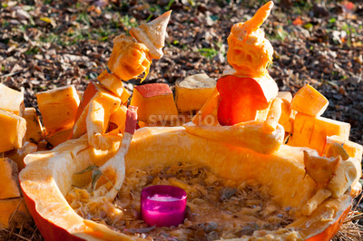CHADDS FORD, PA - OCTOBER 26: Witch Caldron Pumpkin at The Great Pumpkin Carve carving contest on October 26, 2013 Stock Photo