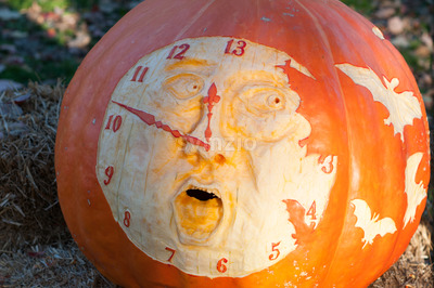 CHADDS FORD, PA - OCTOBER 26: Clock Pumpkin at The Great Pumpkin Carve carving contest on October 26, 2013 Stock Photo
