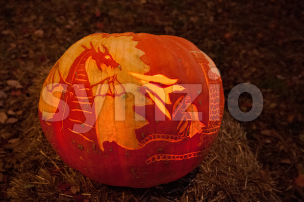 CHADDS FORD, PA - OCTOBER 26: Dragon, Knight and Castle Pumpkin at The Great Pumpkin Carve carving contest on October 26, 2013 Stock Photo