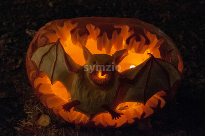 CHADDS FORD, PA - OCTOBER 26: Bat Pumpkin at The Great Pumpkin Carve carving contest on October 26, 2013 Stock Photo