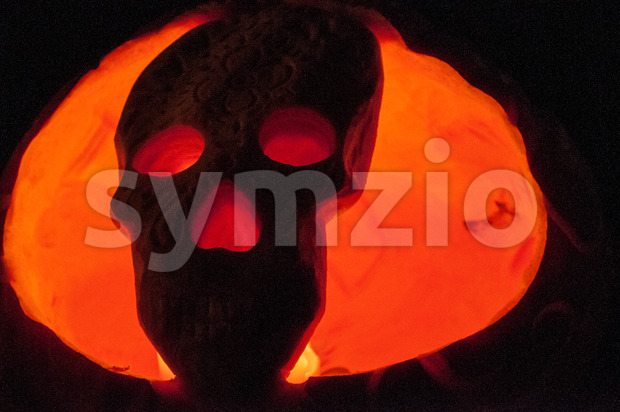 CHADDS FORD, PA - OCTOBER 26: Skull Pumpkin at The Great Pumpkin Carve carving contest on October 26, 2013 Stock Photo