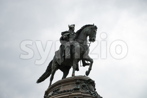 PHILADELPHIA, USA - JUNE 12, 2013: George Washington monument in Philadelphia. The statue designed in 1897 by Rudolf Siemering 1835-1905. Stock Photo