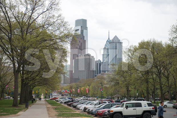 PHILADELPHIA, PA - APRIL 19: View of Benjamin Franklin Parkway from the Philadelphia Museum of Art with Center City skyscraper ...