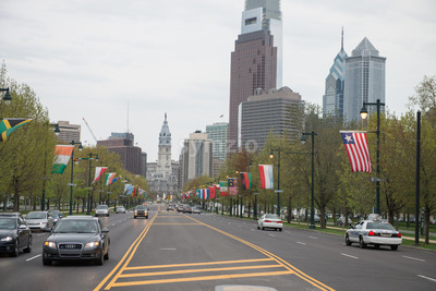PHILADELPHIA, PA - APRIL 19: Benjamin Franklin Parkway from the Philadelphia Museum of Art with Center City skyscraper buildings in the background on Stock Photo