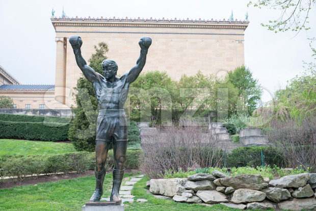 PHILADELPHIA, PA - APRIL 19: The Rocky Statue outside of the Philadelphia Museum of Art on April 19, 2013 Stock Photo