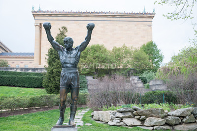 PHILADELPHIA, PA - APRIL 19: The Rocky Statue outside of the Philadelphia Museum of Art on April 19, 2013 Stock Photo