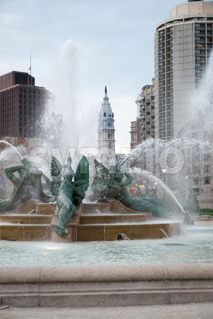 PHILADELPHIA, USA - APRIL 19: View of Swann Fountain in Logan Square on Benjamin Franklin Parkway in Center City Philadelphia ...