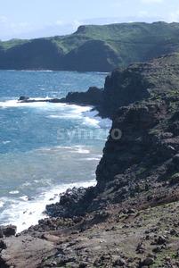 Beautiful views of Maui North coast, taken from famous winding Road to Hana. Maui, Hawaii Stock Photo