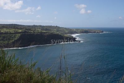 Beautiful views of Maui North coast, taken from famous winding Road to Hana. Maui, Hawaii Stock Photo