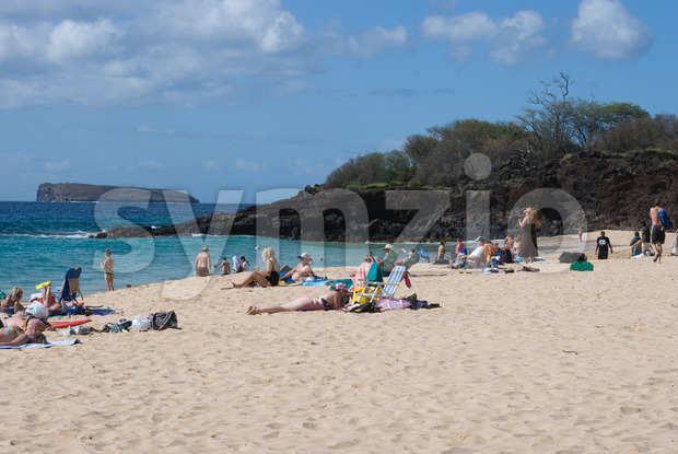 Beach life at Mokapu Beach Park on the Hawaiian island of Maui Stock Photo