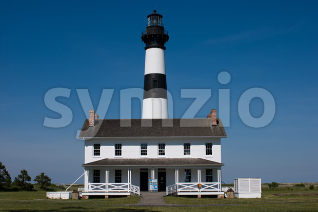 View of Historic Bodie Island Lighthouse at Cape Hatteras National Seashore on the Outer Banks of North Carolina.