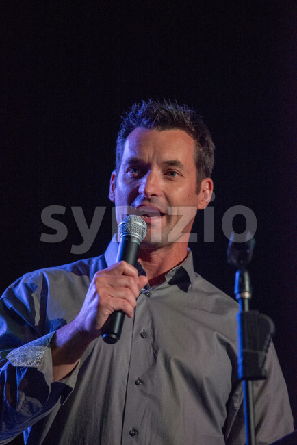VALLEY FORGE CASINO, KING OF PRUSSIA, PA - JULY 15: Comcast SportsNet anchor John Boruk speaking at Kendall's Crusade fundraising event on July 15, Stock Photo