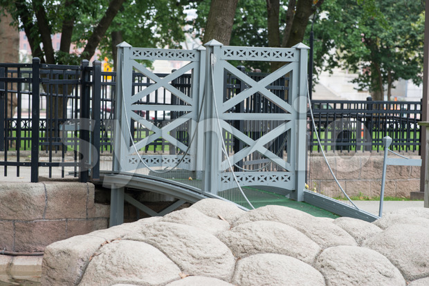 PHILADELPHIA, USA - AUGUST 12: Minature Golf course with Philadelphia themed structures in Franklin Square in Center City Philadelphia on August 12, Stock Photo