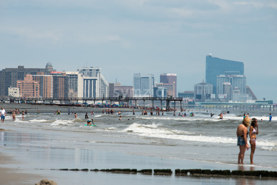 ATLANTIC CITY, NJ - AUGUST 8: The skyline and Atlantic Ocean in Atlantic City, New Jersey on August 8, 2017 Stock Photo