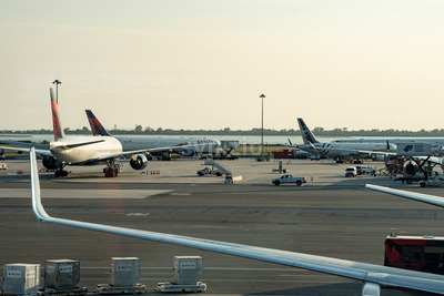 NEW YORK - AUGUST 17, 2017: Delta Airlines plane on tarmac at Terminal 4 at JFK International Airport Stock Photo