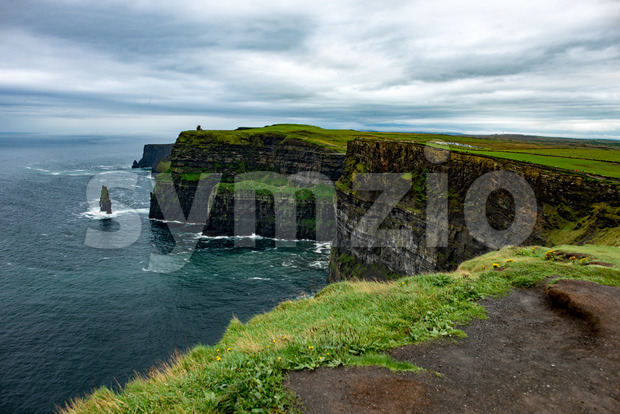 Cliffs of Moher Tourist Attraction in Ireland Stock Photo
