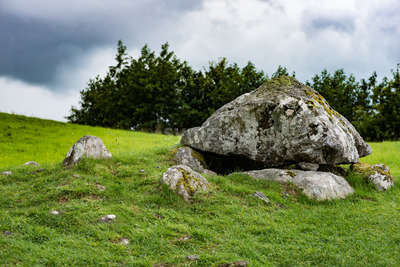 COUNTY SLIGO, IRELAND - AUGUST 25, 2017: Carrowmore Megalithic Cemetery in Sligo, Ireland Stock Photo