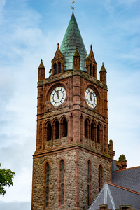 DERRY, NORTHERN IRELAND - AUGUST 27, 2017: Guildhall is the city hall of Derry Stock Photo