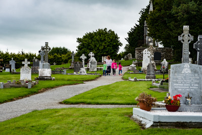 KILLARNEY, IRELAND - AUGUST 20, 2017: Aghadoe Church and Round Tower in Killarney Ireland Stock Photo