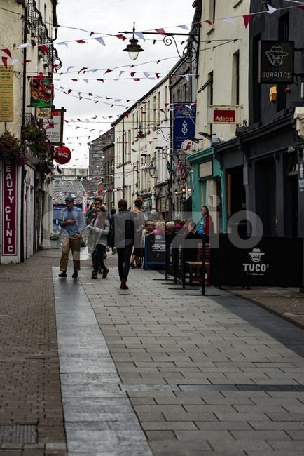 GALWAY, IRELAND - AUGUST 22, 2017: View of Architecture of city center of Galway Ireland
