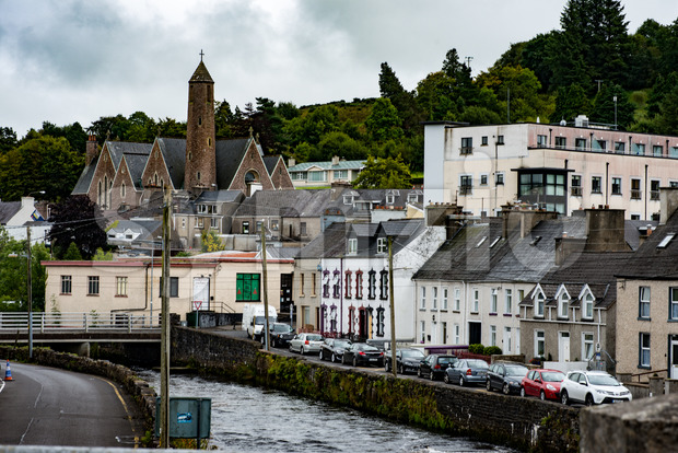 DONEGAL, IRELAND - AUGUST 25, 2017: Buildings in the city center of Donegal Ireland Stock Photo