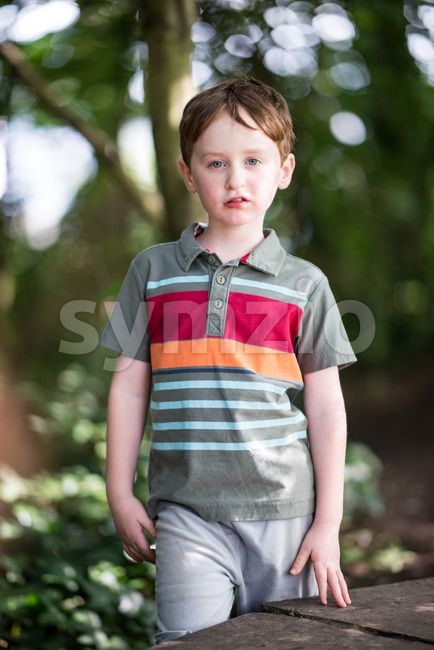 Young little boy portrait looking at camera Stock Photo