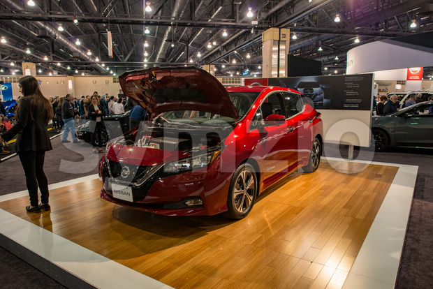 PHILADELPHIA, PA - Feb 3: Nissan Leaf EV electric vehicle at the 2018 Philadelphia Auto Show Stock Photo