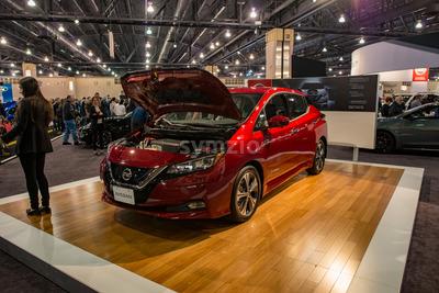 PHILADELPHIA, PA - Feb 3: Nissan Leaf EV electric vehicle at the 2018 Philadelphia Auto Show Stock Photo